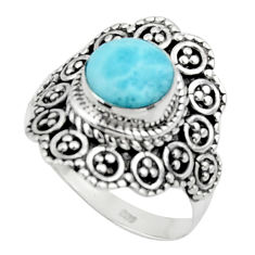 3.13cts solitaire natural blue larimar 925 sterling silver ring size 7 r50146