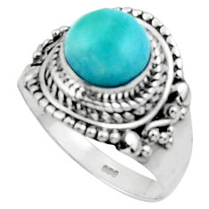 3.19cts solitaire natural blue larimar 925 sterling silver ring size 7 r50159