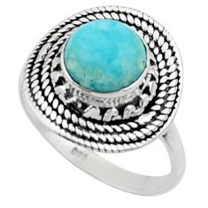 3.50cts solitaire natural blue larimar 925 sterling silver ring size 7 r50169