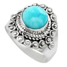 3.01cts solitaire natural blue larimar 925 sterling silver ring size 7 r50171