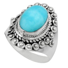 4.65cts solitaire natural blue larimar 925 sterling silver ring size 7 r50174