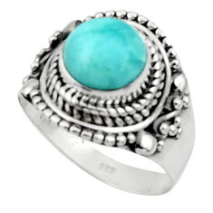 3.20cts solitaire natural blue larimar 925 sterling silver ring size 7 r50178