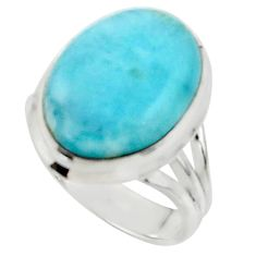10.25cts solitaire natural blue larimar 925 sterling silver ring size 7 r50201