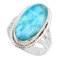 7.84cts solitaire natural blue larimar 925 sterling silver ring size 7 r50246