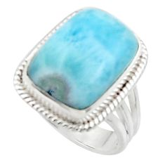 10.04cts solitaire natural blue larimar 925 sterling silver ring size 7 r50251