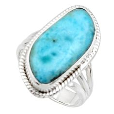 10.64cts solitaire natural blue larimar 925 sterling silver ring size 7 r50290