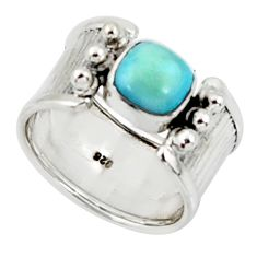 2.63cts solitaire natural blue larimar 925 sterling silver ring size 7 r50850