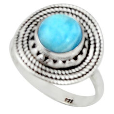 3.02cts solitaire natural blue larimar 925 sterling silver ring size 7 r50851