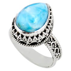 6.76cts solitaire natural blue larimar 925 sterling silver ring size 7 r51881