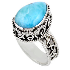 6.32cts solitaire natural blue larimar 925 sterling silver ring size 7 r51886