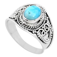 2.17cts solitaire natural blue larimar 925 sterling silver ring size 7 t10212