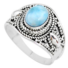2.10cts solitaire natural blue larimar 925 sterling silver ring size 7 t10223