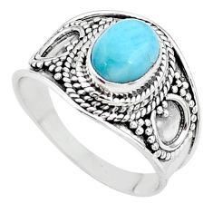 2.17cts solitaire natural blue larimar 925 sterling silver ring size 7 t10228