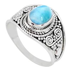 2.17cts solitaire natural blue larimar 925 sterling silver ring size 7 t10234