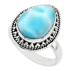 5.53cts solitaire natural blue larimar 925 sterling silver ring size 7 t10545