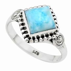 2.58cts solitaire natural blue larimar 925 sterling silver ring size 7 t11189