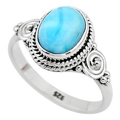 3.06cts solitaire natural blue larimar 925 sterling silver ring size 7 t11210