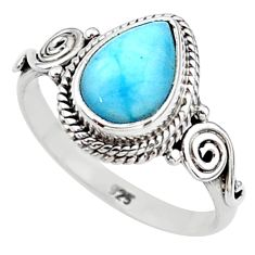 2.53cts solitaire natural blue larimar 925 sterling silver ring size 7 t11253