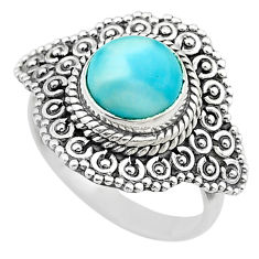 3.28cts solitaire natural blue larimar 925 sterling silver ring size 7 t20128