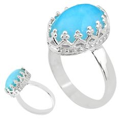 5.96cts solitaire natural blue larimar 925 sterling silver ring size 7 t20373