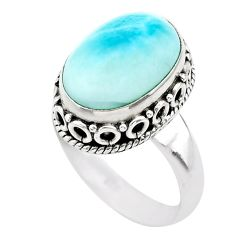 6.74cts solitaire natural blue larimar 925 sterling silver ring size 7 t29474