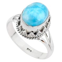 4.10cts solitaire natural blue larimar 925 sterling silver ring size 7 t37939
