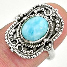 3.01cts solitaire natural blue larimar 925 sterling silver ring size 7 t39882