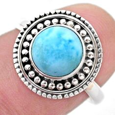 3.42cts solitaire natural blue larimar 925 sterling silver ring size 7 t46115
