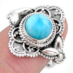 3.19cts solitaire natural blue larimar 925 sterling silver ring size 7 t46122