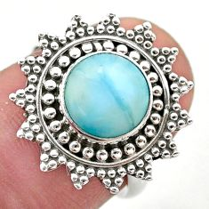 3.10cts solitaire natural blue larimar 925 sterling silver ring size 7 t46147