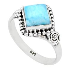 2.78cts solitaire natural blue larimar 925 sterling silver ring size 7 t4984