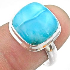 6.31cts solitaire natural blue larimar 925 sterling silver ring size 7 t56302
