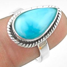 6.02cts solitaire natural blue larimar 925 sterling silver ring size 7 t56314