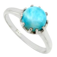 2.89cts solitaire natural blue larimar 925 sterling silver ring size 8 r40551