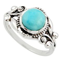 3.05cts solitaire natural blue larimar 925 sterling silver ring size 8 r40842
