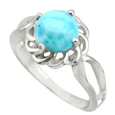 3.32cts solitaire natural blue larimar 925 sterling silver ring size 8 r41901