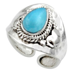 2.55cts solitaire natural blue larimar 925 sterling silver ring size 8 r50133