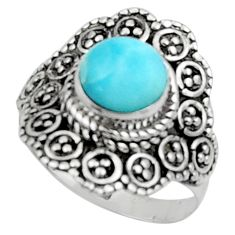 3.02cts solitaire natural blue larimar 925 sterling silver ring size 8 r50161