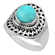 3.19cts solitaire natural blue larimar 925 sterling silver ring size 8 r50177
