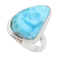 14.72cts solitaire natural blue larimar 925 sterling silver ring size 8 r50239
