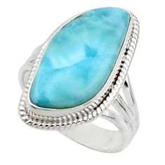12.36cts solitaire natural blue larimar 925 sterling silver ring size 8 r50261