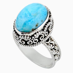 6.20cts solitaire natural blue larimar 925 sterling silver ring size 8 r51884
