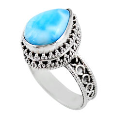 6.76cts solitaire natural blue larimar 925 sterling silver ring size 8 r51896