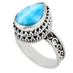6.32cts solitaire natural blue larimar 925 sterling silver ring size 8 r51897