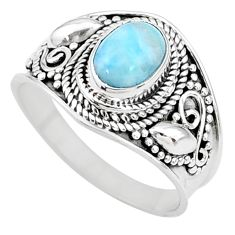 2.02cts solitaire natural blue larimar 925 sterling silver ring size 8 t10201