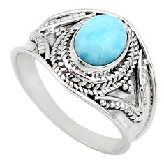 2.08cts solitaire natural blue larimar 925 sterling silver ring size 8 t10202