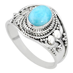 2.05cts solitaire natural blue larimar 925 sterling silver ring size 8 t10203