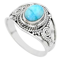 2.14cts solitaire natural blue larimar 925 sterling silver ring size 8 t10205