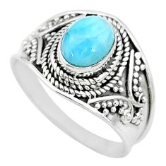 2.21cts solitaire natural blue larimar 925 sterling silver ring size 8 t10214