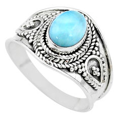 2.13cts solitaire natural blue larimar 925 sterling silver ring size 8 t10215